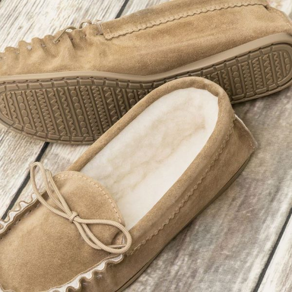 Beige British Made Suede Moccasin Slippers on wood