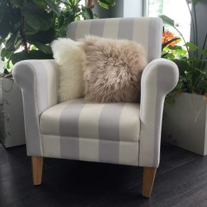 Sheepskin Cushion Covers on stripe chair