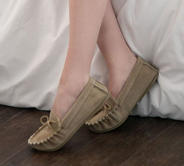Beige British Made Suede Moccasin Slippers being worn at home
