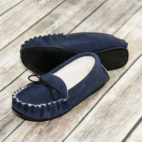 Navy British Made Suede Moccasin Slippers on wooden floor