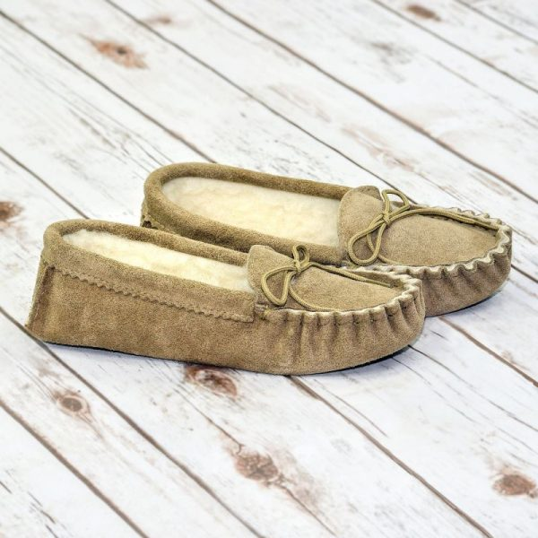 Beige British Made Suede Moccasin Slippers on white background