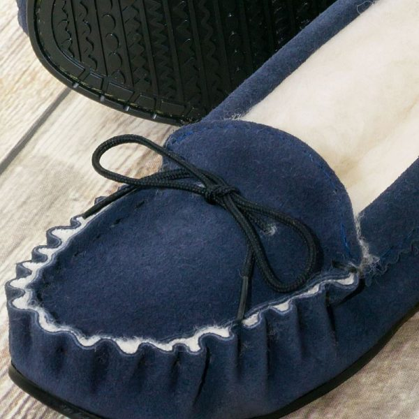 Navy British Made Suede Moccasin Slippers vamp detail