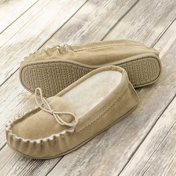 Beige British Made Suede Moccasin Slippers on wooden background