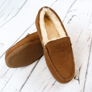 Narrow fit Ashley slippers, slipper pose on white wooden flooring