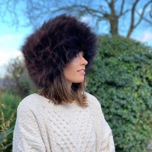 Sheepland Sheepskin Handmade Ladies Organic Rare Breed Sheepskin Cossack Hat In Rare Breed Chocolate