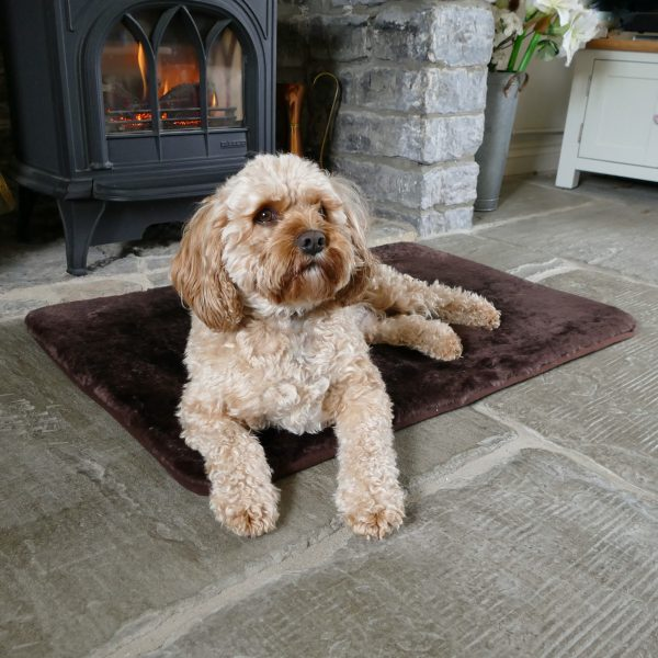 Sheepland Sheepskin Chocolate Pet Bed with dog lying on it, in front of fire place