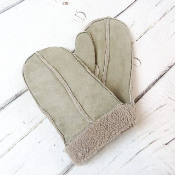 Grey sheepskin mittens, showing front detail and reverse detail