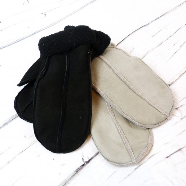 Black and Grey sheepskin mittens showing colour choices and front detail